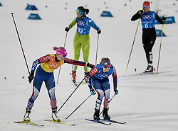 February 17, 2018 - Pyeongchang, KOR - The United States' Kikkan Randall, left, touches teammate Jessie Diggins during an exchange in the Women's 4x5km Relay at Alpensia Cross-Country Centre during the Pyeongchang Winter Olympics on Saturday, Feb. 17, 2018. (Credit Image: © Carlos Gonzalez/TNS via ZUMA Wire)