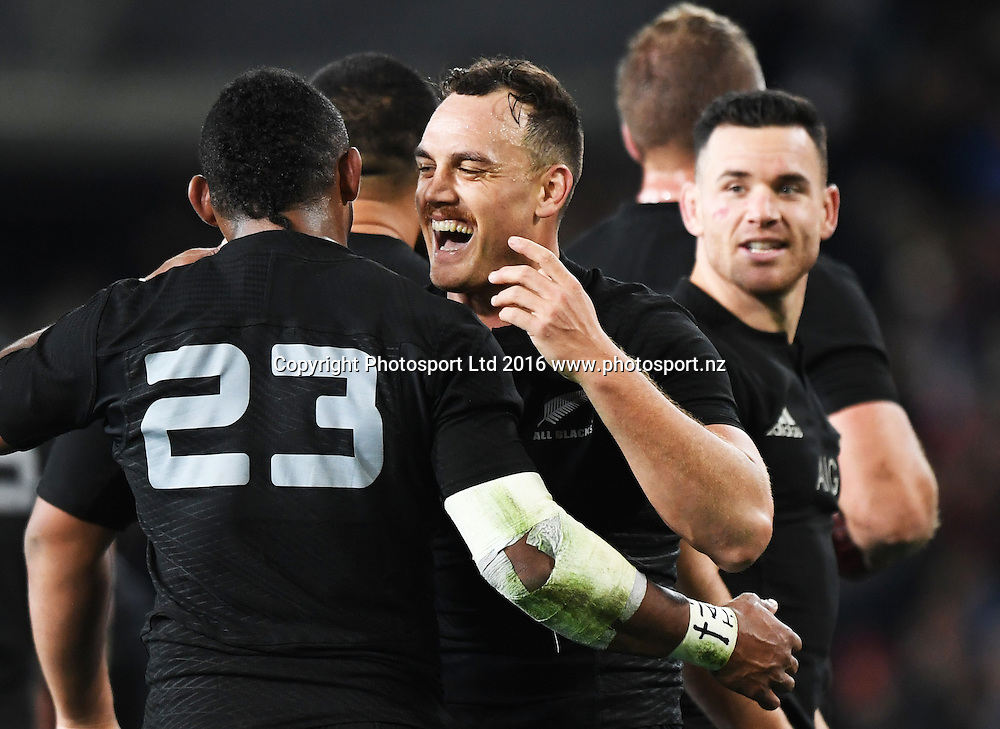 Waisake Naholo and Israel Dagg have a laugh at the end of the match.  New Zealand All Blacks v Wales. Rugby Union. 3rd test match of the Steinlager series. Forsyth Barr Stadium, Dunedin, New Zealand. Saturday 25 June 2016. © Copyright Photo: Andrew Cornaga / www.Photosport.nz