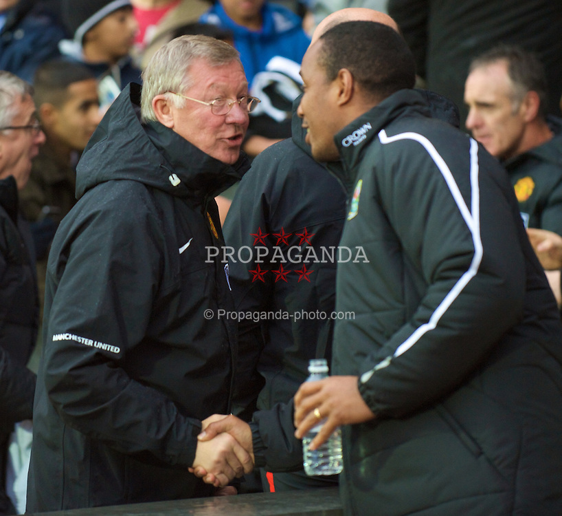 BLACKBURN, ENGLAND - Saturday, October 4, 2008: Manchester United's manager Alex Ferguson and Blackburn Rovers' manager Paul Ince during the Premiership match at Ewood Park. (Photo by David Rawcliffe/Propaganda)