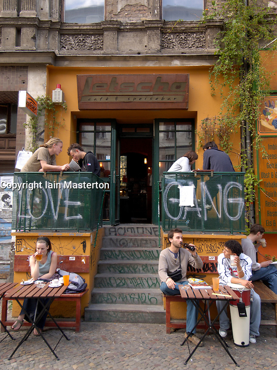 Bohemian cafe and bar on Kastanienallee in Prenzlauer Berg District of Berlin Germany