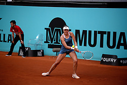 May 4, 2019 - Madrid, Spain - Anett Kontaveit (EST) in action against  Aliaksandra Sasnovich (BLR) during day one of the Mutua Madrid Open at La Caja Magica  in Madrid on 4th May, 2019. (Credit Image: © Juan Carlos Lucas/NurPhoto via ZUMA Press)