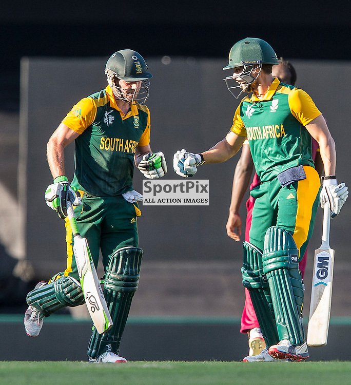 ICC Cricket World Cup 2015 Tournament Match, South Africa v West Indies, Sydney Cricket Ground; 27th February 2015<br /> South Africa&rsquo;s AB De Villiers runs back on after thinking he was caught out