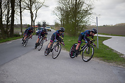 CANYON//SRAM Racing riders tackle a sharp corner during Stage 2 of the Healthy Ageing Tour - a 19.6 km team time trial, starting and finishing in Baflo on April 6, 2017, in Groeningen, Netherlands.