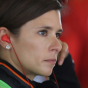 Sprint Cup Series driver Danica Patrick (10) is seen in her garage during the 57th Annual NASCAR Coke Zero 400 race first practice session at Daytona International Speedway on Friday, July 3, 2015 in Daytona Beach, Florida.  (AP Photo/Alex Menendez)