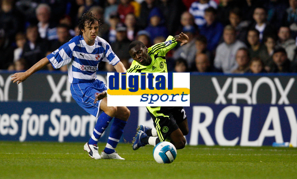 Photo: Richard Lane/Sportsbeat Images.<br />Reading v Chelsea. The FA Barclays Premiership. 15/08/2007. <br />Chelsea's Shaun Wright-Phillips is brought down by Reading's Stephen Hunt.