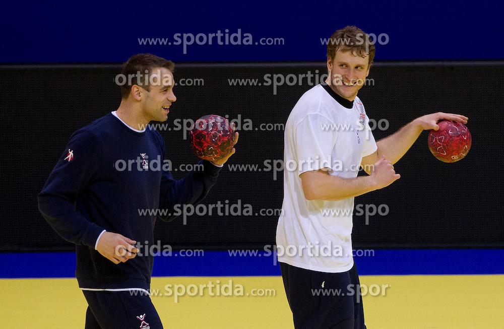 Matjaz Brumen and David Miklavcic during practice of Slovenia Men Handball team 1 day before the beginning of 10th EHF European Handball Championship Serbia 2012, on January 14, 2012 in Vrsac, Serbia.  (Photo By Vid Ponikvar / Sportida.com)