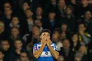 Queens Park Rangers midfielder Massimo Luongo (21) rues a missed goal opportunity during The FA Cup 5th round match between Queens Park Rangers and Watford at the Loftus Road Stadium, London, England on 15 February 2019.