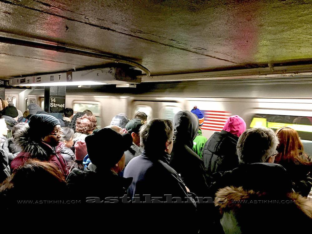 Subway platform in New York City, New York.
