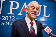 22 FEBRUARY 2012 - MESA, AZ: Congressman RON PAUL, (R-TX) talks to reporters before a fundraiser in Mesa, AZ, Wednesday. Congressman Paul is participating in the CNN debate in Mesa, AZ, later Wednesday night. He has several fundraisers scheduled in Mesa before the debate.      PHOTO BY JACK KURTZ