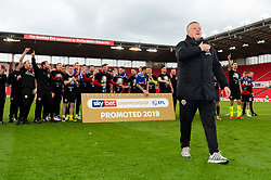 Sheffield United manager Chris Wilder celebrates in front of their traveling fans after the final whistle of the match after securing automatic promotion to the Premier League after drawing with Stoke City - Mandatory by-line: Ryan Hiscott/JMP - 05/05/2019 - FOOTBALL - Bet365 Stadium - Stoke-on-Trent, England - Stoke City v Sheffield United - Sky Bet Championship