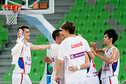 Players of Serbia celebrate during basketball match between National teams of Serbia and Latvia in Quarterfinal Match of U20 Men European Championship Slovenia 2012, on July 20, 2012 in SRC Stozice, Ljubljana, Slovenia. (Photo by Matic Klansek Velej / Sportida.com)