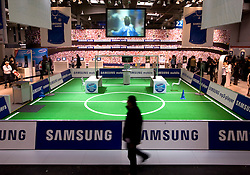 HANNOVER, GERMANY - MARCH-7-2008 - Samsung installed a soccer stadium in the gaming pavilion to attract attention to their products. (Photo © Jock Fistick)