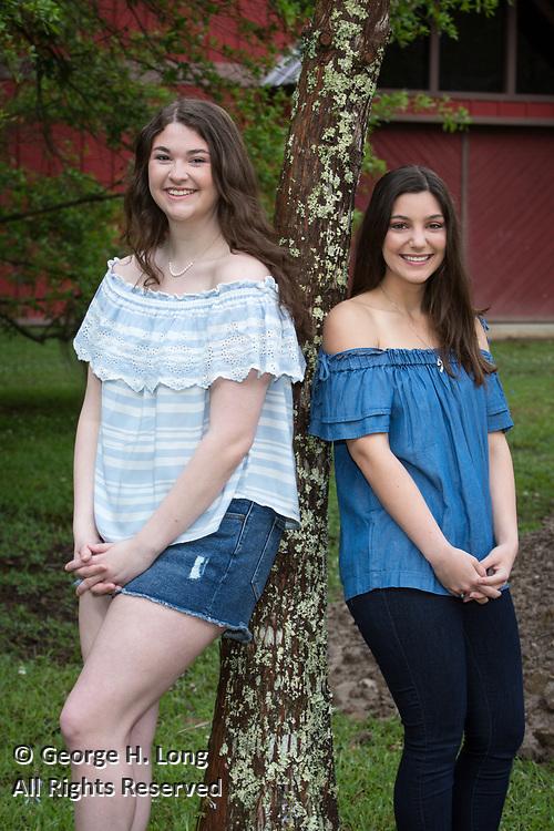 High school senior portrait of Callie Matthews with Alexandra Randazzo in Abita Springs; photo ©2018, George H. Long
