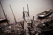 Gloomy riverbank along the Red River in Nam Dinh Province, Vietnam, Southeast Asia.