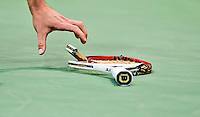 ROTTERDAM - De Bulgaar Grigor Dimitrov  heeft zijn racket kapot gegooid tijdens de kwart finale van het  ABN AMRO ATP tennis toernooi tegen de Cypioot Marcos Baghdatis
