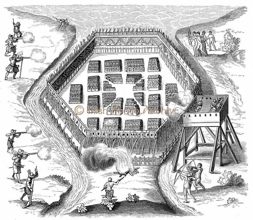 Onondaga village attacked in 1615 by Samuel de Champlain (1567-1635), French explorer and 'founder of Canada'. Onondaga: Iroquoian-speaking people inhabiting villages of bark and wood longhouses occupied by related families, situated in what is now New York.