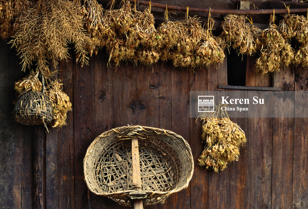 Basket with shoulder pole and garlic outside house, Guizhou, China