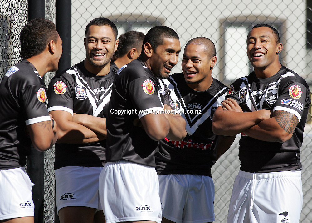 (L-R) Manu Vatuvei, Tony Puletua, Iosia Soliolo, Steve Matai and Roy Asotasi wait for the Kiwi team photo to be taken at the Heritage Hotel, Auckland, New Zealand on Friday 6 October, 2006. Photo: Hannah Johnston/PHOTOSPORT <br /> <br /> <br /> <br /> <br /> 061006