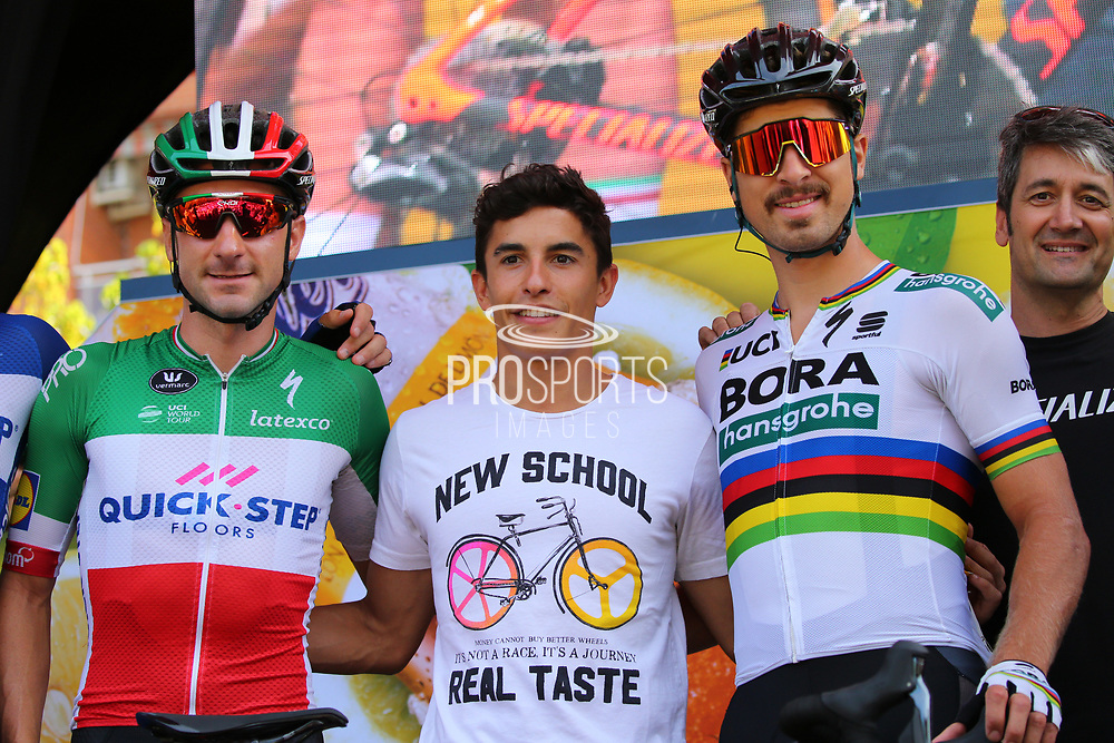lia Viviani (ITA - QuickStep - Floors) - Marc Marquez (ESP) - Peter Sagan (SVK - Bora - Hansgrohe) during the 73th Edition of the 2018 Tour of Spain, Vuelta Espana 2018, 19th stage Lleida - Andorra 154,4 km on September 14, 2018 in Spain - Photo Luca Bettini / BettiniPhoto / ProSportsImages / DPPI
