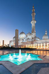 Evening view  of Sheikh Zayed Grand Mosque in Abu Dhabi United Arab Emirates