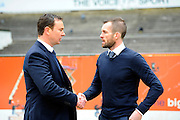 Plymouth Argyle manager Derek Adams and Luton Town manager Nathan Jones shake hands before the Sky Bet League 2 match between Plymouth Argyle and Luton Town at Home Park, Plymouth, England on 19 March 2016. Photo by Graham Hunt.