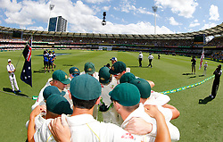 Australia form a huddle during day one of the Ashes Test match at The Gabba, Brisbane.
