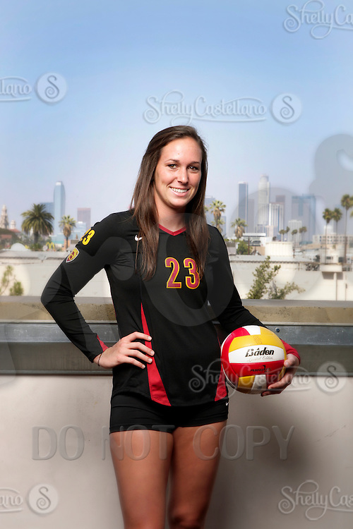10 August 2010: #23 Carolyn Hillgren DS  on the Pac-10 NCAA College Women's Volleyball team for the USC Trojans Women of Troy photographed at the Galen Center on Campus in Southern California. .Images are for Personal use only.  No Model Release, No Property Release, No Commercial 3rd Party use. .Photo Credit should read: ©2010ShellyCastellano.com