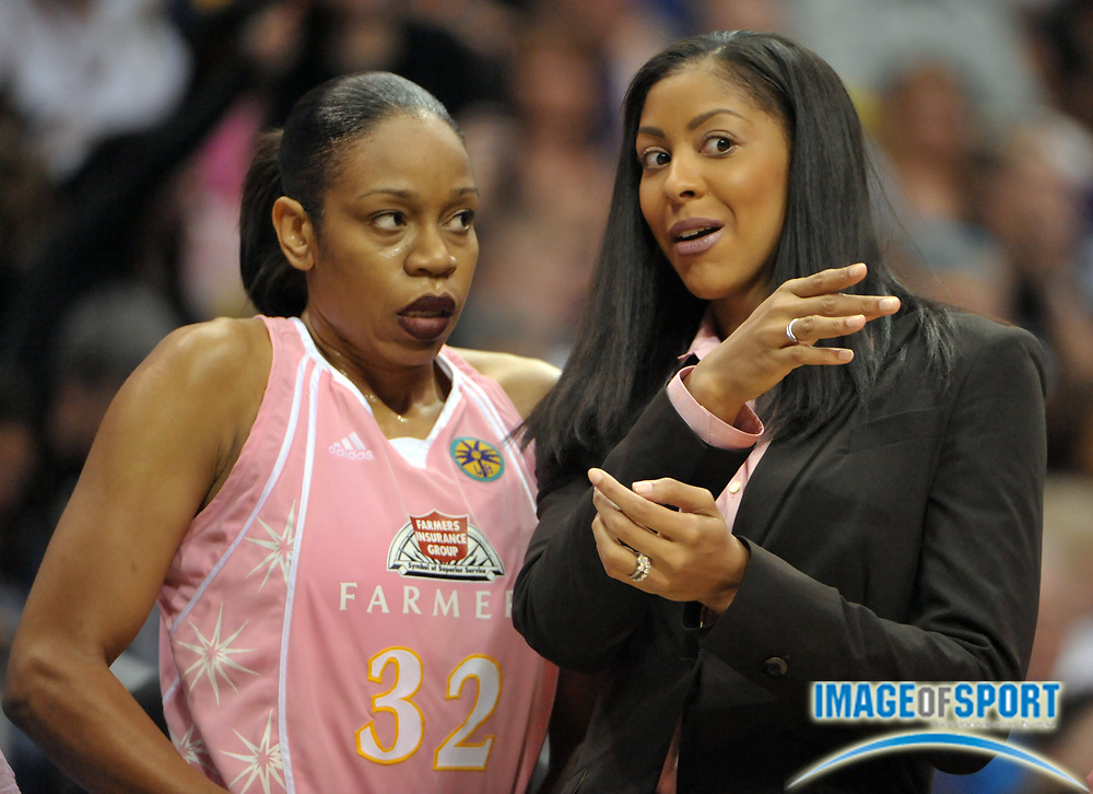 Aug 10, 2010; Los Angeles, CA, USA; Candace Parker (right) talks with Los Angeles Sparks forward Tina Thompson (32) duirng the game against the Indiana Fever at the Staples Center. Photo by Image of Sport