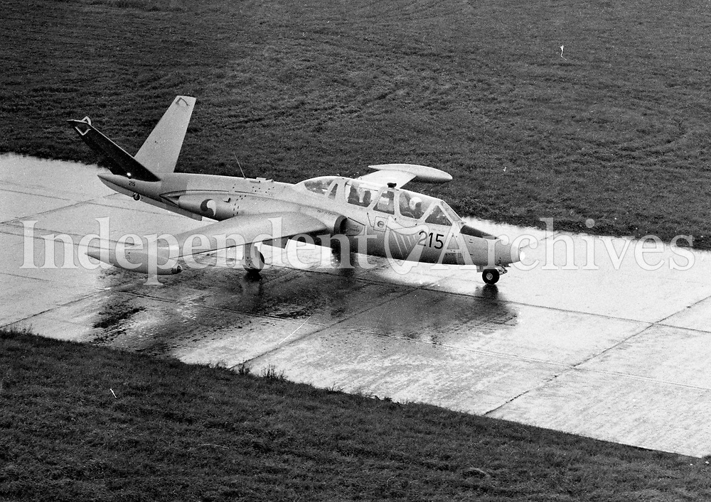 Irish Air Corps CM 170 Super Magister Jet at Casement Aerodome, 11/09/1975 (Part of the Independent Newspapers Ireland/NLI Collection).