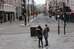 Some parts of central London are being left unusually quiet at times as consideration is given to social distancing during the COVID-19 pandemic. This is Oxford Street in central London.