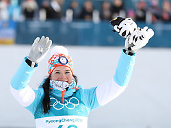 PYEONGCHANG, Feb. 15, 2018  Krista Parmakoski from Finland celebrates during venue ceremony of women's 10KM free event of country skiing at Pyeongchang 2018 Winter Olympic Games at Alpensia Cross-Country Centre, PyeongChang, South Korea, Feb. 15, 2018. Krista Parmakoski claimed third place in a time of 25:32.4. (Credit Image: © Bai Xuefei/Xinhua via ZUMA Wire)