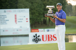 December 11, 2016 - Hong Kong, Hong Kong S.A.R, China - Final round of the 58th Hong Kong Open at The Hong Kong Golf Club Fanling, Hong Kong, Hong Kong SAR, China. Sam Brazel takes the trophy by one stroke with a birdie on the 18th. Brazel poses with the trophy by the lake on the 18th fairway (Credit Image: © Jayne Russell via ZUMA Wire)