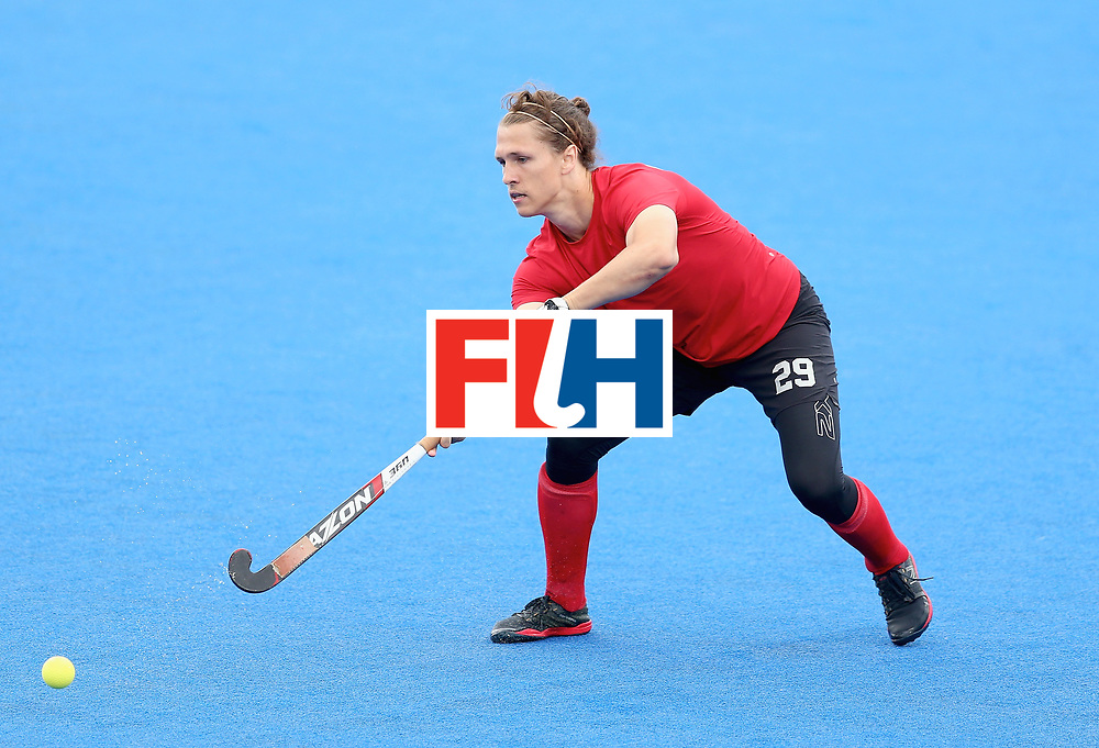 LONDON, ENGLAND - JUNE 25: Taylor Curran of Canada in action during the 5th/6th place match between India and Canada on day nine of the Hero Hockey World League Semi-Final at Lee Valley Hockey and Tennis Centre on June 25, 2017 in London, England. (Photo by Steve Bardens/Getty Images)