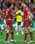 Digby Ioane shakes hands with Luke Monahan at the end of the Super 15 Rugby (Quarter Final) fixture between the Queensland Reds and the South Africa Sharks played at Suncorp Stadium (Brisbane) on Saturday 21st July 2012 ~ Editorial Use only in accordance with QRU Terms & Conditions ~ Photo Credit Required : Steven Hight / photosport.co.nz