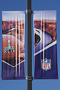 January 22, 2015; Phoenix, AZ, USA; General view of banners at the intersection of 5th Street and Monroe Street in advance of Super Bowl XLIX between the Seattle Seahawks and the New England Patriots.