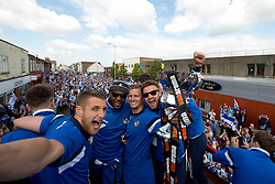 Bristol Rovers' Lee Brown, Ellis Harrison, Lee Mansell and  Matt Taylor celebrate on the celebration Bus Tour parade - Photo mandatory by-line: Dougie Allward/JMP - Mobile: 07966 386802 - 25/05/2015 - SPORT - Football - Bristol - Bristol Rovers Bus Tour