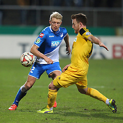 03.03.2015, Scholz Arena, Aalen, GER, DFB Pokal, VfR Aalen vs TSG 1899 Hoffenheim, Achtelfinale, im Bild Links Andreas Beck ( TSG 1899 Hoffenheim ) rechts Michael Klauss (VfR Aalen) // during German DFB Pokal last sixteen match between VfR Aalen and TSG 1899 Hoffenheim at the Scholz Arena in Aalen, Germany on 2015/03/03. EXPA Pictures © 2015, PhotoCredit: EXPA/ Eibner-Pressefoto/ Langer<br /> <br /> *****ATTENTION - OUT of GER*****