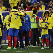Ivan Hurtado in his final appearance with the national team during the Ecuador Vs El Salvador friendly international football match. The 40-year-old Hurtado left in the 42nd minute to a large ovation from the partisan crowd at Red Bull Arena. The defender is retiring after a team-record 168 appearances. Red Bull Arena, Harrison, New Jersey. USA. 14th October 2014. Photo Tim Clayton