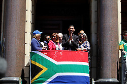 Monday 17th October 2016.<br /> Grand Parade & Greenpoint Athletics Stadium, Cape Town,<br /> Western Cape, South Africa.<br /> <br /> Cape Town Honours South African Olympic And Paralympic Heroes<br /> <br /> Olympic Champion and 400 Metre World Record Holder Wayde Van Niekerk greets the crowd at Grand Parade.<br /> <br /> Cape Town honours the South African Olympic and Paralympic heroes during a special celebratory event held in Cape Town, Western Cape, South Africa on Monday 17 October 2016.<br /> <br /> Picture By: Mark Wessels / Real Time Images.