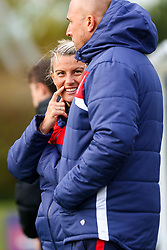 Tanya Oxtoby manager of Bristol City Women laughs with Birmingham City Women manager Marc Skinner - Mandatory by-line: Ryan Hiscott/JMP - 14/10/2018 - FOOTBALL - Stoke Gifford Stadium - Bristol, England - Bristol City Women v Birmingham City Women - FA Women's Super League 1