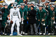 Oct 17, 2015; Ann Arbor, MI, USA; Michigan State Spartans wide receiver Macgarrett Kings Jr. (85) celebrates touchdown in the third quarter against the Michigan Wolverines at Michigan Stadium. Mandatory Credit: Rick Osentoski-USA TODAY Sports