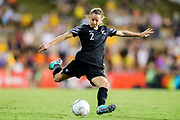 Ria Percival lines up a cross kick during the Cup of Nations Women's Football match, New Zealand Football Ferns v Matildas, Leichhardt Oval, Thursday 28th Feb 2019. Copyright Photo: David Neilson / www.photosport.nz