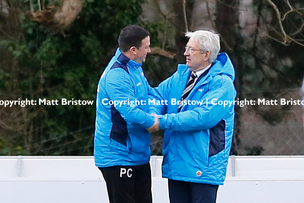 Guiseleys manager Paul Cox and Dover's manager Chris Kinnear shake hands before the Vanorama National League match between Dover Athletic and Guiseley at Crabble Stadium, London, England on 27 January 2018. Photo by Matt Bristow.