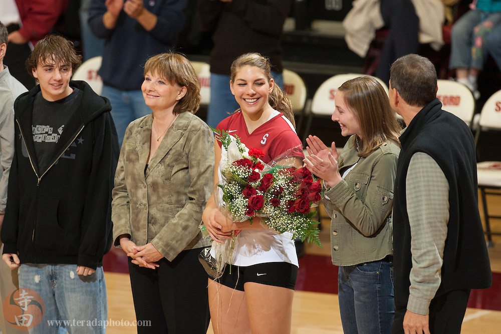 November 25, 2006; Stanford, CA, USA; Stanford Cardinal middle blocker Lizzie Suiter (13) smiles during senior night before the game against the Washington State Cougars at Maples Pavilion. The Cardinal defeated the Cougars 30-27, 30-23, 30-18.