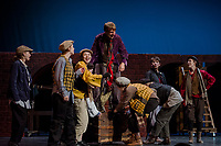 "Topher Weimann ""Fagin"" with Fagin's gang during dress rehearsal Tuesday evening for the musical ""Oliver"" at Gilford High School.  (Karen Bobotas/for the Laconia Daily Sun)"