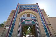 Uzbekistan, Bukhara. Entrance gate to the Emir's Summer Palace.