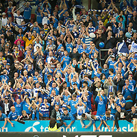 Rosenborg v St Johnstone....18.07.13  UEFA Europa League Qualifier.<br /> Saints fans in good voice<br /> Picture by Graeme Hart.<br /> Copyright Perthshire Picture Agency<br /> Tel: 01738 623350  Mobile: 07990 594431