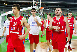 Vladimir Lucic of Serbia, Milan Macvan of Serbia after the basketball match between National teams of Slovenia and Serbia in day 3 of Adecco cup, on August 5, 2012 in Arena Stozice, Ljubljana, Slovenia. (Photo by Vid Ponikvar / Sportida.com)
