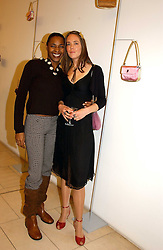 Left to right, singer SONIQUE and CHRISTINE HOLMES of Froggy at a party to celebrate the european launch of Froggy handbags held at BB Italia, Brompton Cross, London on 24th October 2004.<br />