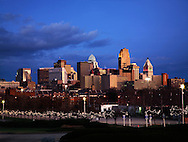 The Downtown Cincinnati Skyline Taken From The Parking Lot At The Museum Center Just After Sunset, Cincinnati Ohio, USA